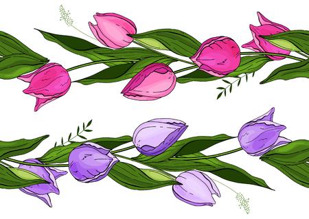 Vector. Seamless pattern brush floral. 向量圖像