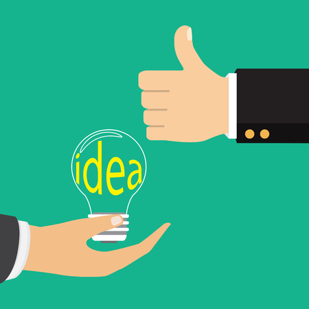 Vector illustration in flat design. Isolated on background. Pointing finger on bulb. Concept of big idea.