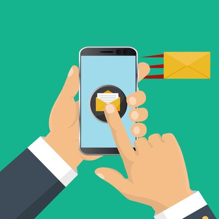 Mobile messenger chat, hands with smartphone sending a message. Isometric flat design, vector illustration Ilustrace