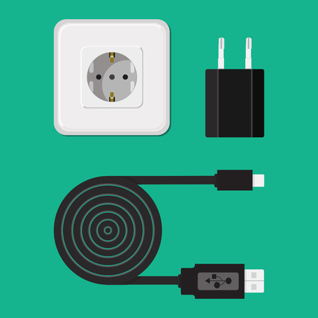 Icon. Vector. Charger, cable, wire for phone with micro USB connector. Illustration