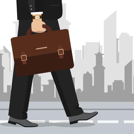 Main d'homme d'affaires tenant une mallette. Illustration vectorielle