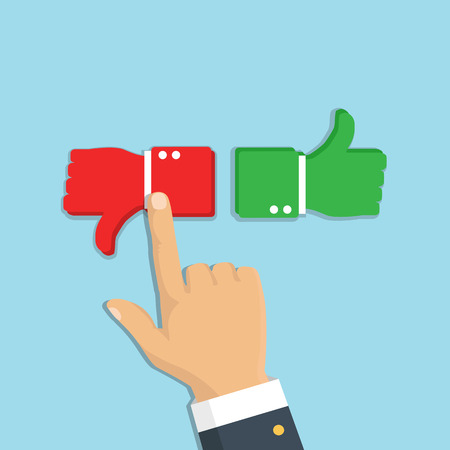 Hand pointing like and dislike, sign button. Vector. Rating feedback.