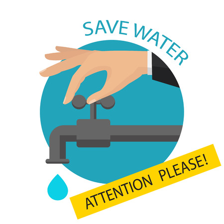 Turn off the water with man's hand isolated on background. Vector flat illustration