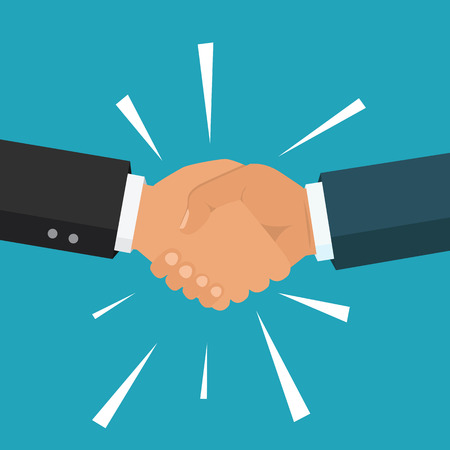 Vector business partnership illustration. Handshake. Symbol of success deal, happy business partnership, agreement. Flat design isolated on background