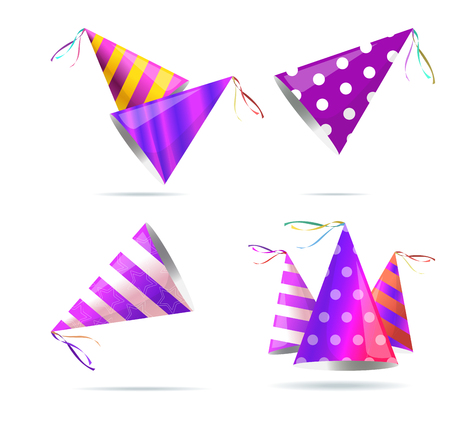 Vector isolated illustration. Holiday icon. Isometric 3d illustration. Birthday party hat with stripes.   Illustration