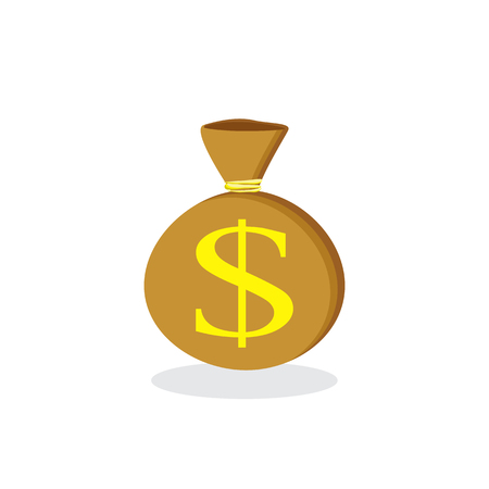 Money saving and money bag concept. Money making. Bank deposit. Financials. Isolated on a background. Flat icon, vector illustration