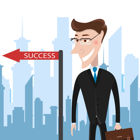 Successful businessman in the city. The pointer indicates success. Vector Illustration. Business success concept.