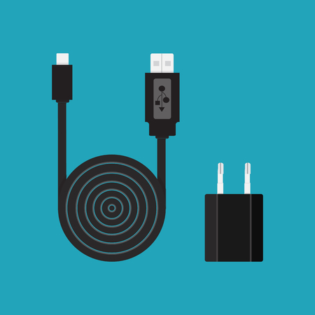 Icon. Vector. Charger, cable, wire for phone with micro USB connector. Ilustração