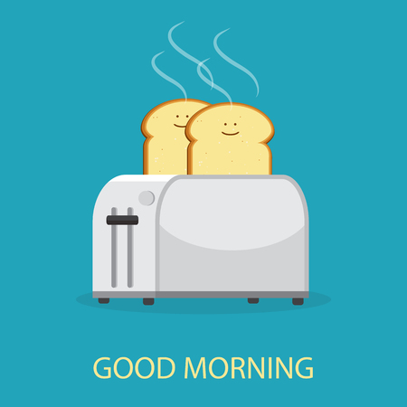 Isolated on background. Vector illustration. Good morning concept. Toaster and bread toasts. Ilustração