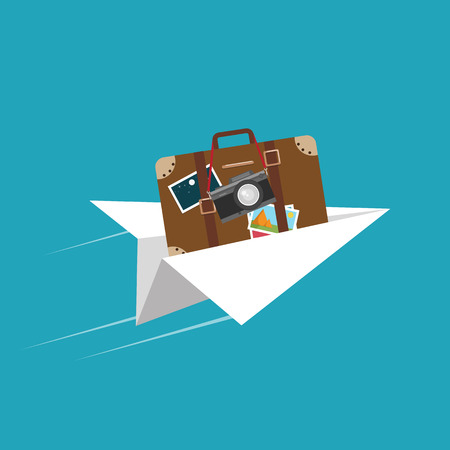 Airplane flight, travelling around the world, concept of vacation trip. Vector illustration