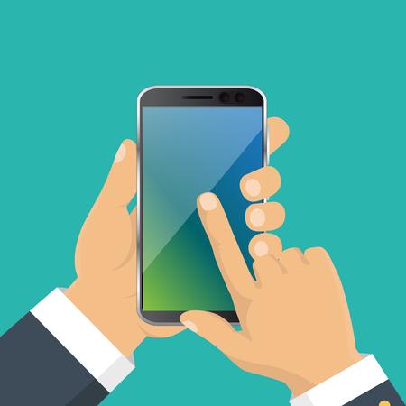 Vector. Hand holding smart phone. Business concept, flat design