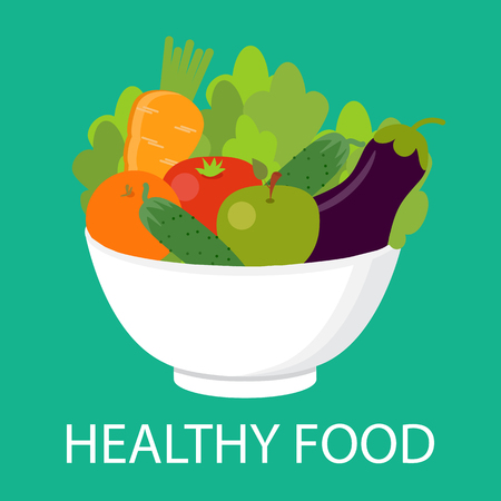 Vegetables on a plate. Healthy food concept. Vegan, vegetarian. Vector illustration.