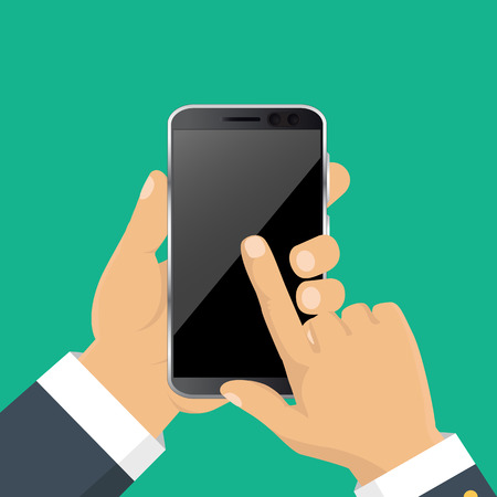 Vector. Hand holding smart phone. Business concept, flat design