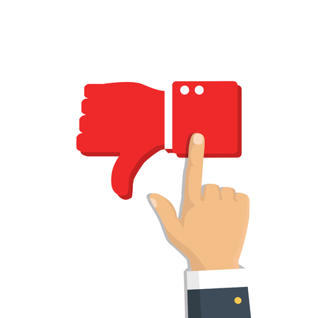 Rating feedback. Hand pointing like and dislike, sign button. Vector