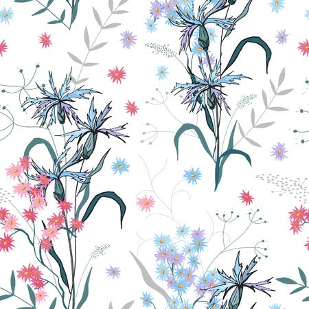 Motif de fleurs sans soudure à la mode. Fond vintage. Fond d'écran. Floraison de fleurs isolées réalistes. Dessiné à la main. Illustration vectorielle.