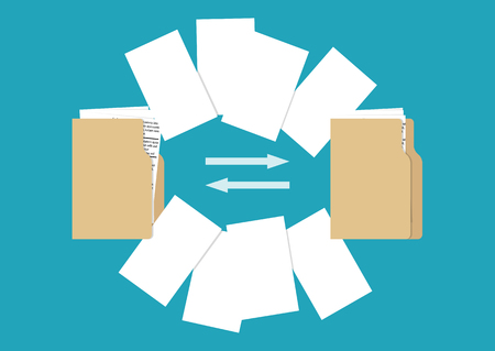 File transfer concept. Folders with documents. Vector illustration