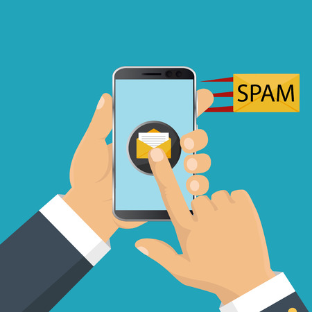 Attention spam message. Spam data concept. Vector illustration. 일러스트