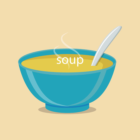 Hot bowl of soup, dish isolated icon. Soup with vegetables isolated  on white background. Vector illustration Illustration