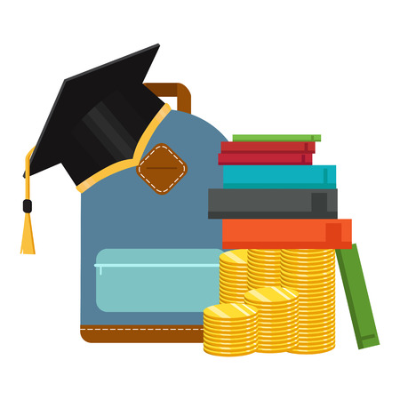 Investment in education concept. Graduate's cap and golden coin. Vector illustration
