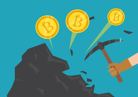 Cryptocurrency concept. Businessman mining bitcoins. Vector illustration Vettoriali