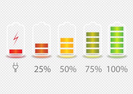Iconos indicadores del estado de carga de la batería. Establecer con diferentes niveles de carga de la batería del teléfono. Ilustración de vector.