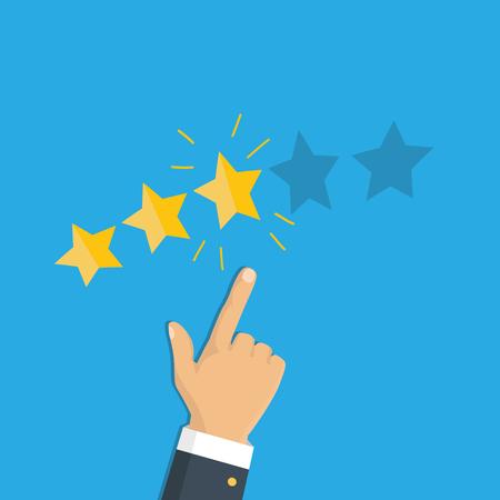 Rating selection finger. Human hands put gold rating star. Rank. Five stars. Vector Reklamní fotografie - 112319201