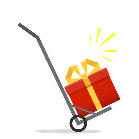 Fast gift delivery service concept. Present quick solution. Vector illustration