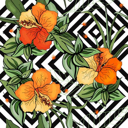 Motif de fleurs et feuilles sans soudure de vecteur tropical. Contexte exotique. Fond d'écran. Floraison de plantes de jungle isolées réalistes, palmier. Illustration lumineuse dessinée à la main.