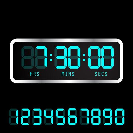 Timer clock. Digital time clock. Vector electronic alarm icon