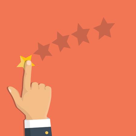 Rating selection finger. Human hands put gold rating star. Rank. Five stars. Vector Reklamní fotografie - 112319223