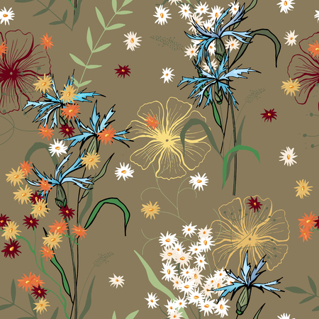 Blossom floral seamless pattern. Vintage background. Wallpaper. Blooming realistic isolated flowers. Hand drawn. Vector illustration. Vector Illustration