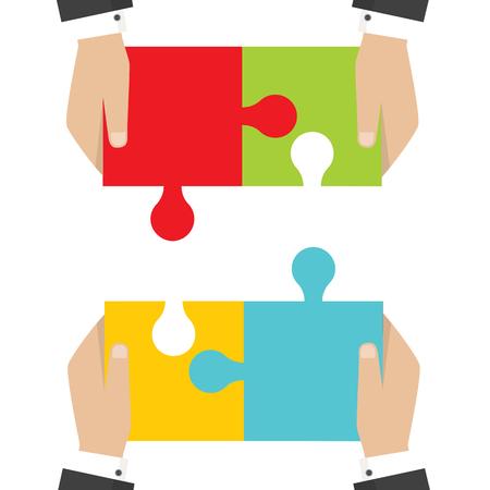 Business teamwork concept. Four businessman connecting puzzle. Vector Vettoriali