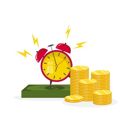 El tiempo es el concepto de dinero. Planificación financiera, gestión de plazos y tiempos. Ilustración vectorial