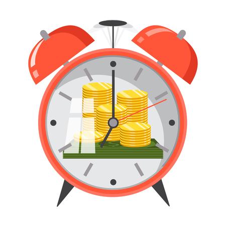 El tiempo es concepto de dinero. Planificación financiera, gestión de plazos y tiempos. Ilustración vectorial