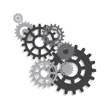 Engrenages, trundles et roues dentées, mécanisme de la machine. Fond de vecteur