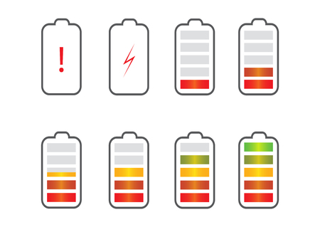 Battery charge state indicator icons. Set with different levels of charge phone's battery. Vector illustration. Vettoriali