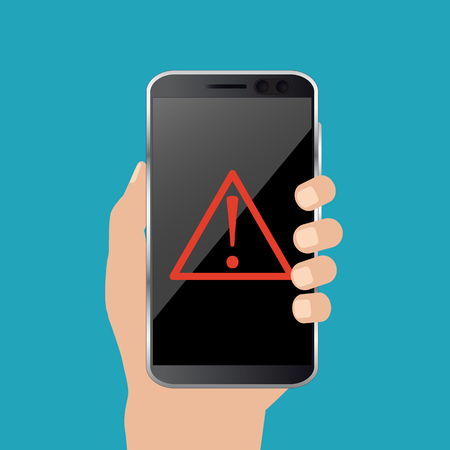 Malware notification concept on smartphone. Red alert, concept of spam data. Vector Illustration