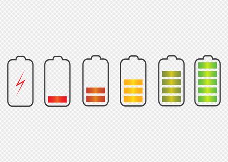Symbole für die Batterieladezustandsanzeige. Stellen Sie den Akku des Telefons mit verschiedenen Ladezuständen ein. Vektorillustration.