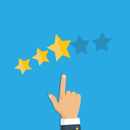 Rating selection finger. Human hands put gold rating star. Rank. Five stars. Vector
