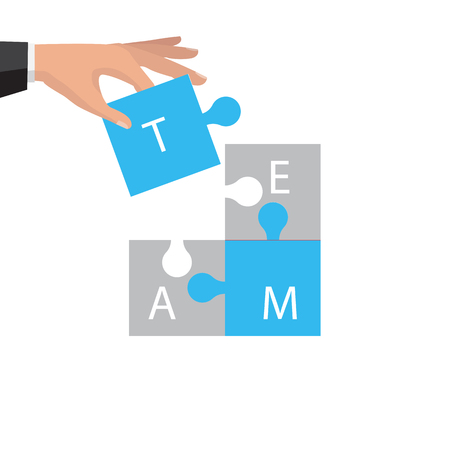 Business teamwork concept. Four businessman connecting puzzle. Vector