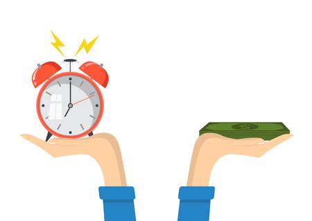 Il tempo è il concetto di denaro. Pianificazione finanziaria, scadenze e gestione del tempo. Illustrazione vettoriale