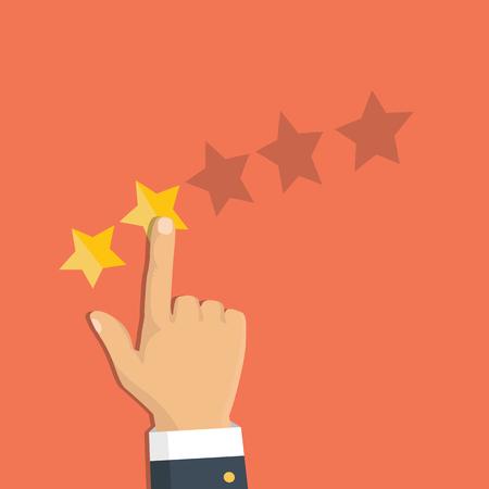 Rating selection finger. Human hands put gold rating star. Rank. Five stars. Vector
