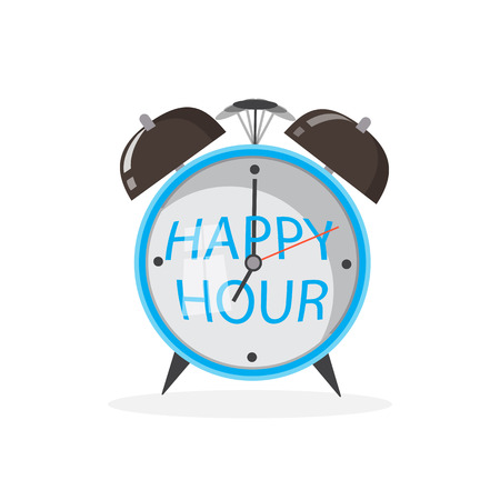 Happy hour alarm clock concept. Vector icon illustration
