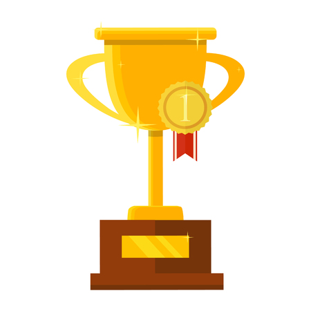 Champion trophy flat icon. Golden winner cup. Championship and leadership isolated illustration. First place winner concept. Vector