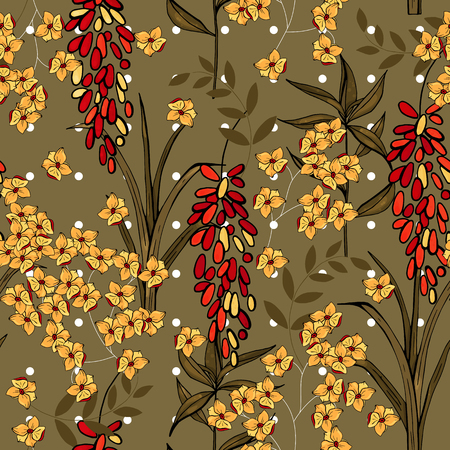 Retro Wild seamless flower pattern. Vintage background. Wallpaper. Blooming realistic isolated flowers. Hand drawn. Vector illustration.