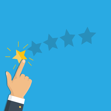 Rating selection finger. Human hands put gold rating star. Rank. Five stars. Vector Reklamní fotografie - 112319408
