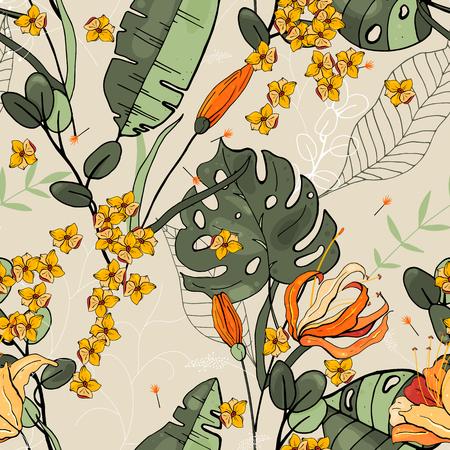 Blumiges nahtloses Blumenmuster. Weinlesehintergrund. Hintergrund. Blühende realistische isolierte Blumen. Handgemalt. Vektorillustration. Vektorgrafik
