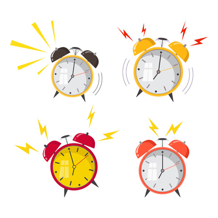 Cartoon alarm clock ringing. Wake up morning concept. Flat design. Vector icon isolated on background