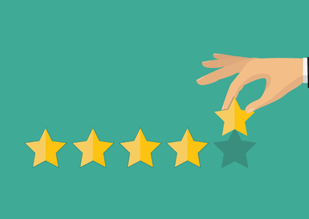 Customer feedback concept. Hand pointing rating golden stars. Feedback, icon. Vector Illustration