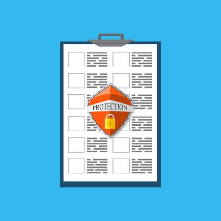 Concept de protection des documents. Confidentialité, idée de sécurité. Illustration vectorielle Vecteurs